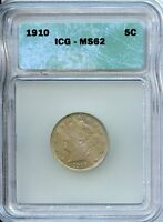 1910 5C ICG MINT STATE 62 MINT STATE, UNCIRCULATED LIBERTY NICKEL