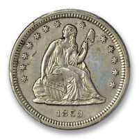 1859 S 25C LIBERTY SEATED QUARTER PCGS GENUINE ABOUT UNCIRCULATED DET.