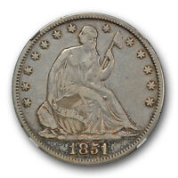1851 SEATED LIBERTY HALF DOLLAR NGC VF FINE DETAILS CLEANED