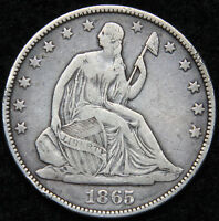 1865 SEATED LIBERTY HALF DOLLAR. 50 CENTS   KEY DATE 511,400 MINTED 5043