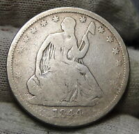 1844 O SEATED LIBERTY HALF DOLLAR 50 CENTS.  NICE OLD COIN  4609