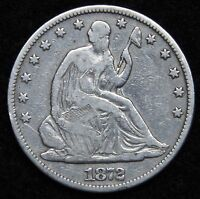1872 SEATED LIBERTY HALF DOLLAR 50C   NICE COIN KEY DATE 880,600 MINTED 5211