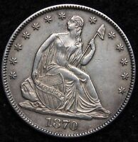1870 SEATED LIBERTY HALF DOLLAR 50C   NICE COIN KEY DATE 656,000 MINTED 5228