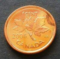 BRILLIANT UNCIRCULATED 2006 P MAGNETIC CANADA 1 CENT PENNY   D303