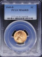 1949 D LINCOLN WHEAT CENT PENNY PCGS CERTIFIED MS 66 RD MINT STATE RED 918