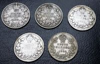 1910 1932 COLLECTIONG OF 5 CANADA 10 CENT SILVER COINS   FREE COMBINED S/H