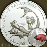 2016 PALAU $5   CORAL HIND FISH   MARINE LIFE PROTECTION SILVER MERMAID COIN