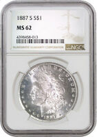 1887 S $1 MORGAN SILVER DOLLAR NGC MINT STATE 62 REVERSE DMPL