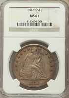 1872 S S$1 SEATED DOLLAR NGC MS 61