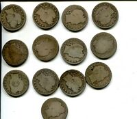 1900 S BARBER SILVER QUARTER LOT OF  13 AG GOOD 1276G