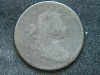 1797 PLAIN EDGE STEMS DRAPED BUST LARGE CENT OBVERSE HIT CORRODED