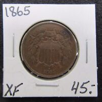 1865 EXTRA FINE  EXTRA FINE TWO CENT COIN