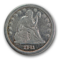 1841 25C LIBERTY SEATED QUARTER FINE VF LOW MINTAGE TOUGH DATE R1235
