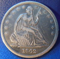 1842 SEATED LIBERTY HALF DOLLAR FINE TO EXTRA FINE RPD WB 102 10079