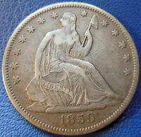 1859 S SEATED LIBERTY HALF DOLLAR EXTRA FINE XF TONED US COIN BETTER DATE 7626