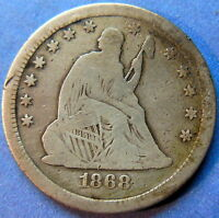 1868 S SEATED LIBERTY QUARTER FINE KEY DATE US COIN CLEANED 5451