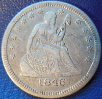 1846 SEATED LIBERTY QUARTER FINE TO EXTRA FINE US COIN 10431