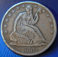 1858 S SEATED LIBERTY HALF DOLLAR FINE TO EXTRA FINE CHOP MARKED 6420