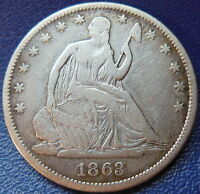 1863 SEATED LIBERTY HALF DOLLAR FINE TO EXTRA FINE US COIN 10247