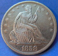 1858 S SEATED LIBERTY HALF DOLLAR EXTRA FINE XF BETTER DATE US COIN 4955