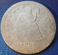 1856 S SEATED LIBERTY QUARTER GOOD VG KEY DATE US COIN DAMAGED 8673