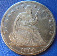 1860 SEATED LIBERTY HALF DOLLAR FINE VF US COIN 10243