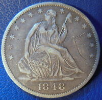 1848 O SEATED LIBERTY HALF DOLLAR EXTRA FINE XF ORIGINAL TONED SCRATCHED 10065