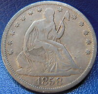 1858 S SEATED LIBERTY HALF DOLLAR FINE TO FINE BETTER DATE US COIN 9535