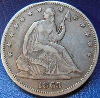 1863 SEATED LIBERTY HALF DOLLAR FINE TO EXTRA FINE ORIGINAL US COIN P 9548