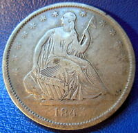 1843 O SEATED LIBERTY HALF DOLLAR FINE TO EXTRA FINE NEW ORLEANS COIN 8780