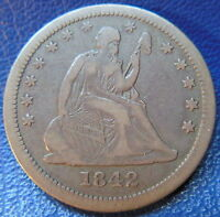 1842 O SEATED LIBERTY QUARTER FINE TO EXTRA FINE LARGE DATE US COIN 9695