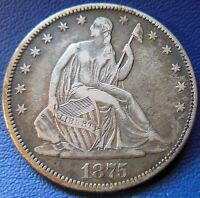 1875 CC HALF DOLLAR SEATED LIBERTY EXTRA FINE XF CARSON CITY MINT US COIN 6799