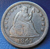 1847 SEATED LIBERTY QUARTER ABOUT UNCIRCULATED AU BETTER DATE US COIN 7249