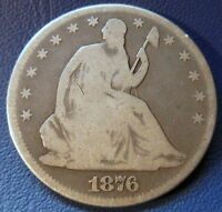 1876 CC HALF DOLLAR CARSON CITY GOOD VG SMALL CC MM SEATED LIBERTY 6745
