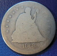 1868 S QUARTER SEATED LIBERTY ABOUT GOOD AG KEY DATE US COIN 179