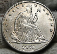 1876 CC SEATED LIBERTY HALF DOLLAR 50 CENTS   KEY DATE NICE COIN 5444
