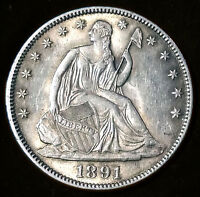 1891 SEATED LIBERTY HALF DOL