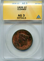 1826 1C CORONET LARGE CENT AG-3 DETAILS ANACS  5059478 AUTHENTICATED