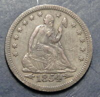 1854 O SEATED LIBERTY QUARTER 25 CENTS SEMI KEY DATE  2762