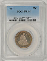 1867 PROOF 25C LIBERTY SEATED QUARTER PCGS PR 64 LOOKS CAMEO BEAUTY