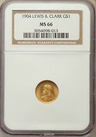 1904 LEWIS AND CLARK COMMEMORATIVE GOLD NGC MINT STATE 66