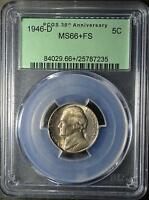 1946 D PCGS MS66 FS JEFFERSON NICKEL  PLUS GRADE FULL STEPS 5C SHIPS FREE