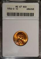 1956 D MS67 RD RED LINCOLN CENT OLD COPPER PENNY SUPERB GEM 268 SHIPS FREE
