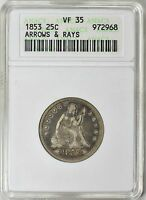 1853 A&R ARROWS AND RAYS SEATED QUARTER VF35 ANACS OH  ONE YEAR ONLY TYPE