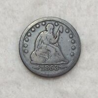 1853 LIBERTY SEATED QUARTER WITH ARROWS & RAYS GOOD SILVER 25C