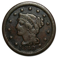 1848 LARGE CENT LIBERTY BRAIDED HAIR HEAD COIN LOT  A 1616