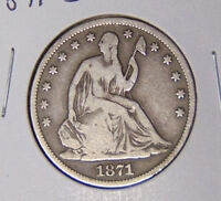 1871 S SEATED LIBERTY HALF DOLLAR G/VG CONDITION SAN FRANCISCO MINT 10816