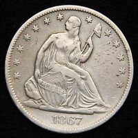 1867S SEATED LIBERTY HALF DOLLAR 50 CENTS. SEMI KEY DATE  5331