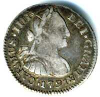 XS  SPANISH COLONIAL GUATEMALA SILVER 1/2 REAL 1791   KING CARLOS IV