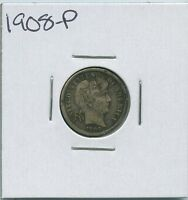 1908 P BARBER DIME SILVER US MINT COIN
